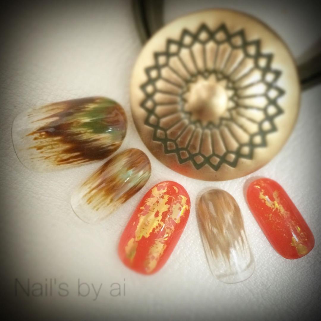 Ai さんのネイルデザインの写真。テーマは『ネイルコンテストAW15、秋ネイル、秋カラー、ネイティヴ、フリンジネイル、ファーネイル、ホイルネイル』