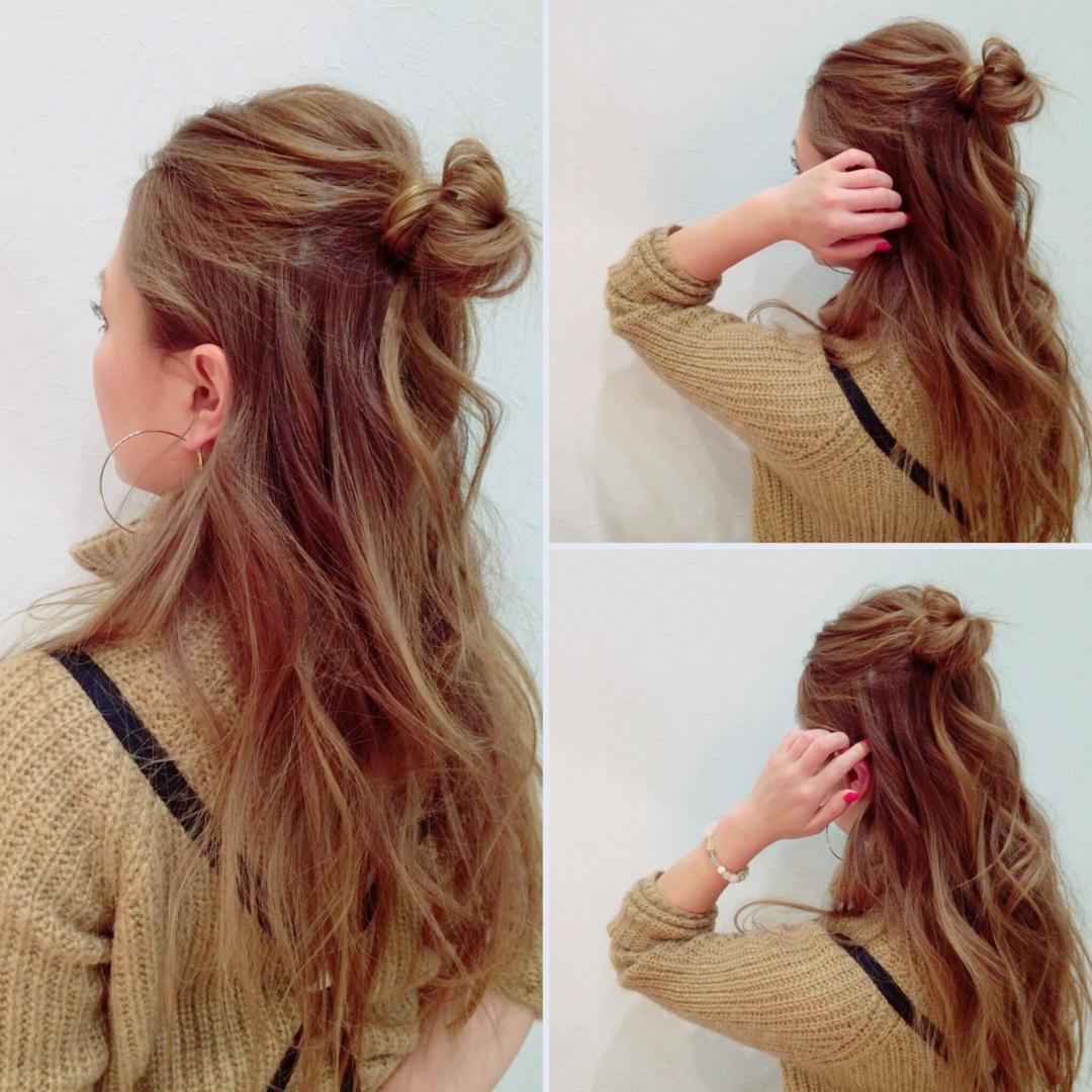 LELLE 立川北口店   高橋可那子さんのヘアスタイルの写真。テーマは『ハーフアップ、アレンジ、簡単アレンジ、外国人風、外国人風カラー、こなれ感、高橋可那子、LELLE』