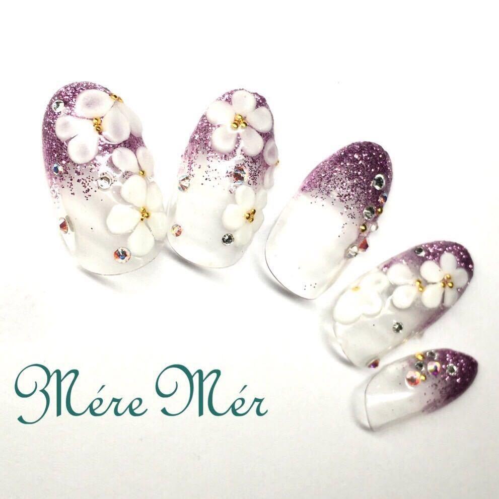 Satomi Kawamitsuさんのネイルデザインの写真。テーマは『秋ネイル、秋カラー、カラグラ、紫、花、ネイルコンテストAW15、3Dアート』