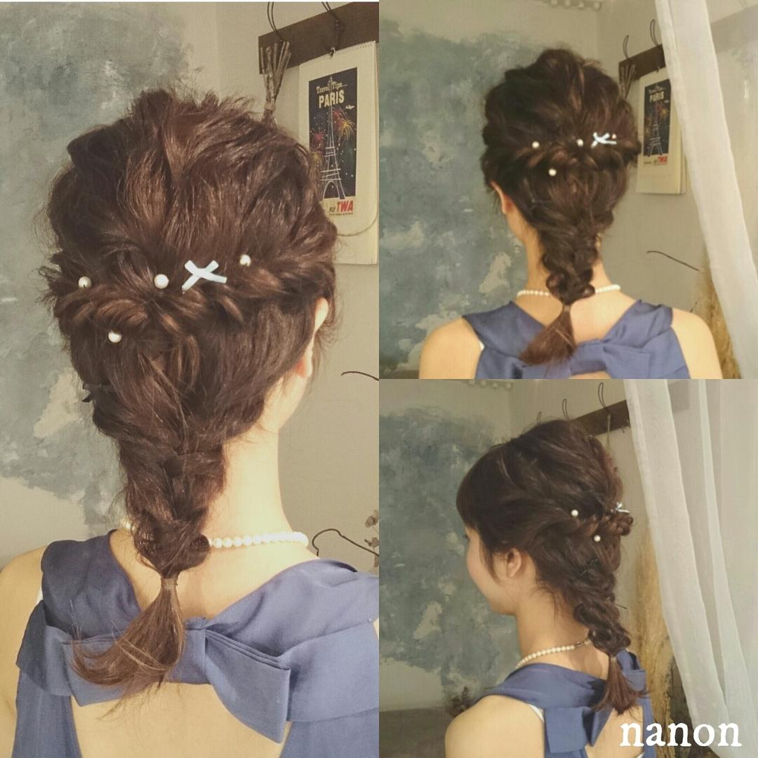 浦川 由起江さんのヘアスタイルの写真。テーマは『編み込みアレンジ、編み込み、ヘアアレンジ、お呼ばれヘア』