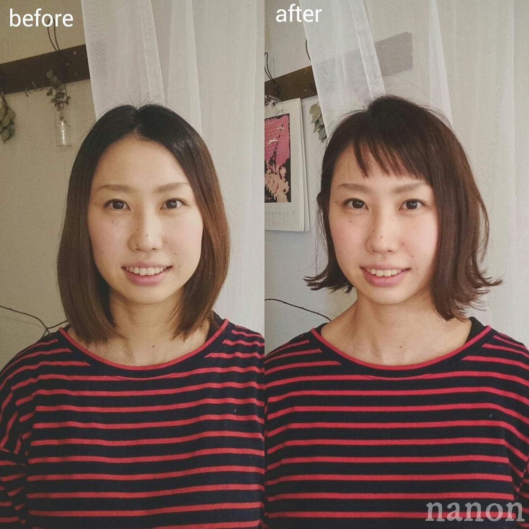 浦川 由起江さんのヘアスタイルの写真。テーマは『切りっぱなしボブ、ホブ、前髪、ショートバング、切りっぱなし、外ハネ』