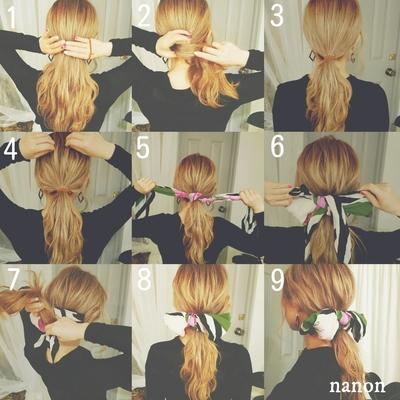 *セルフアレンジレシピ*  1.そのまま下目で髪を集めて 2.ひとつ結びにします 3.しっかりめに結びます。 ✦ここからがポイント✦ 4.結んだ面を少しづつ髪を摘みながら ひっぱって凹凸感をだしていきます。 これぞ!こなれ感ポイント✶ 5.スカーフを三角に折って結んだ髪の下から通して1回結んでから 6.リボン結びにします。 7.リボンの下の部分は髪の後ろに回して結びます 8.9.最後をリボンを整えたら完成で~す✧ #セルフアレンジ ヘアアレンジ たるん #ゆるふわパーマ