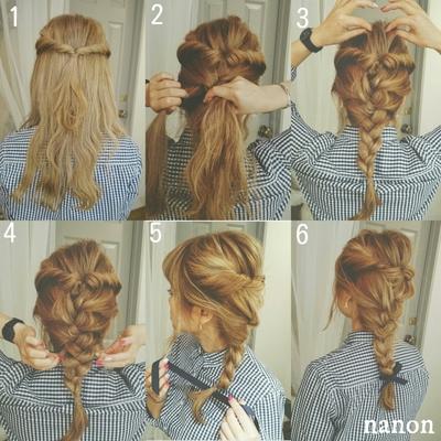 *セルフヘアアレンジレシピ* イベントが多いこの時期に 自分で簡単にできるヘアアレンジをご紹介♪ 〈アレンジ解説〉 1.両サイドの髪をとってねじりながら結んでクルリンパをします。 2.残りの下の髪を編み込みします。 (編み込みが苦手な方は三つ編みか 1つ結びでも可愛いです) 3.4.ここがこなれポイント!! トップと編み込んだ所の髪を ひっぱってバランスを見ながら崩します。 5.最後にゴムで結んだ所にリボンをして… 6.完成でーす♪ nanon #ヘアアレンジ #ヘアアレンジレシピ #編み込みアレンジ #くるりんぱ