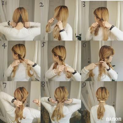 *セルフヘアアレンジレシピ* ✦解説✦ ①後ろで2つに分ける。 ②半分に割った髪を顔周りから 2つの束をねじりながらスタート。 ③~⑤後ろに向かってねじりながら 髪の束を3~4つを目安に入れていって ある程度のところで仮止めしておく。 ⑥逆側も同じ。 ⑦ツイストさせた2つを後ろでまとめて結ぶ。 ⑧ここがポイント!! 少しずつ髪をひっぱりながらくずす。 ⑨ゴムの所にバレッタをとめて完成です!! nanon