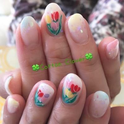 #春ネイル #やわらか #ふんわり #かわいい #OL #大人 #花柄 #チューリップ #ネイル