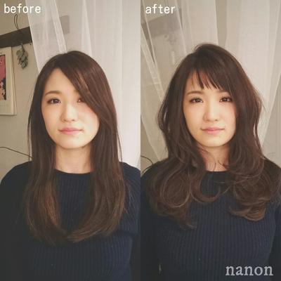 前髪カット before▷after