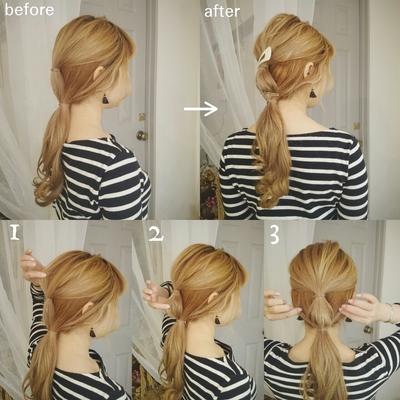 セルフヘアアレンジレシピ  《解説》 半分より上の髪を結んで 上の結んだ髪と一緒に1つ結びにしてから ①上の真ん中部分の髪を少し摘みながら崩す。 ②上の結んだ真ん中の髪を 広げると可愛いです。 ③下も摘み引っ張りながら崩す。  ゴムの所にバレッタをつけたら でーきあがり しっかり結んで崩しができれば こなれヘアに