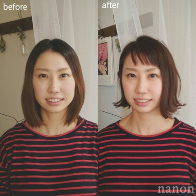 before▶after #切りっぱなしボブ
