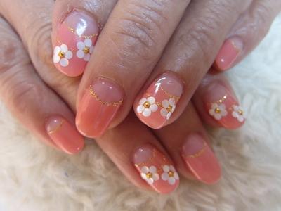 #フレンチネイル #お花 #ピンク #シンプル
