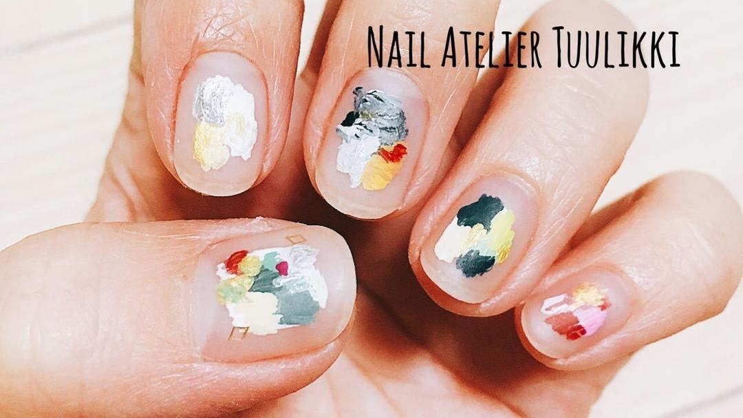 梅津夕想さんのネイルデザインの写真。テーマは『nail2016w、nailart、代々木上原ネイルサロン、ショートネイル、ネイルアトリエツーリッキ、手描きネイル、手描きアート、手描き、絵画風ネイル、抽象画ネイル、プライベートネイルサロン、shortnail、個性派ネイル、個性的ネイル、短い爪を可愛くする、カジュアルネイル、おしゃれネイル、大人ネイル、ジェルネイル、ネイルモデル募集中、代々木上原、下北沢、代々木八幡、小田急線』