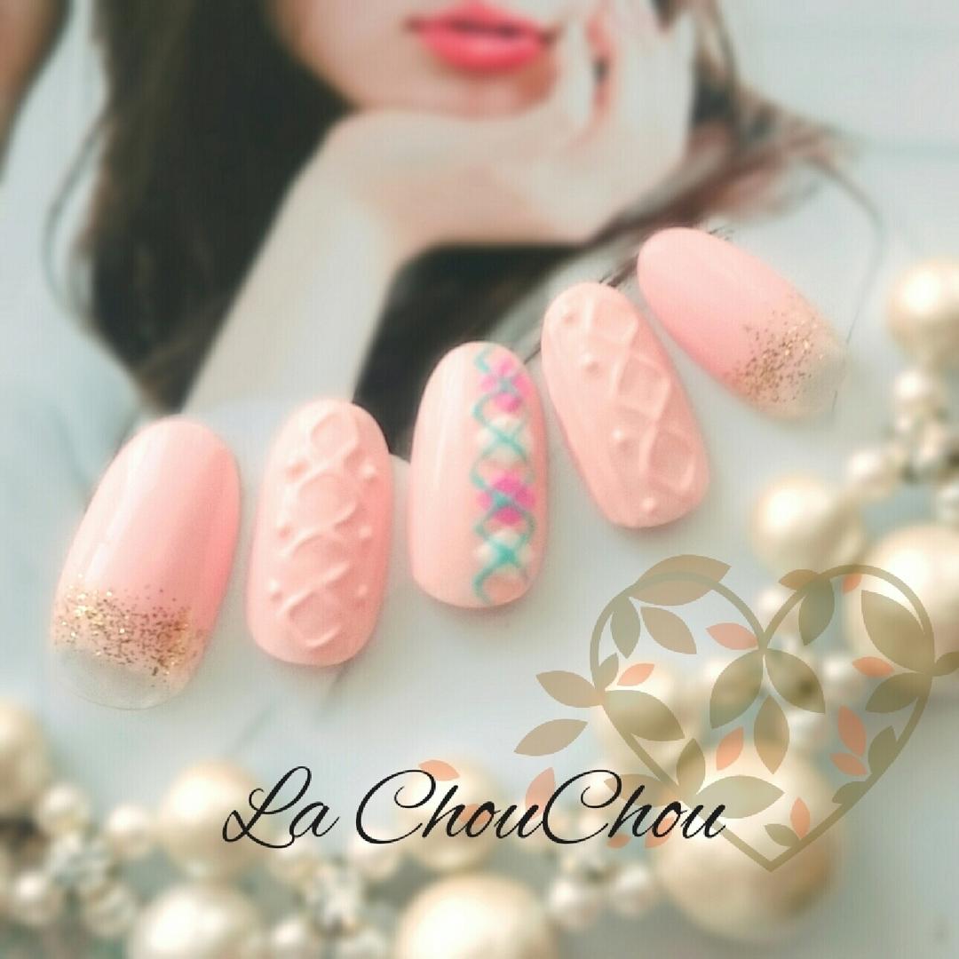 2016冬ネイル♡甘いピンクの愛されニットネイルデザインの画像