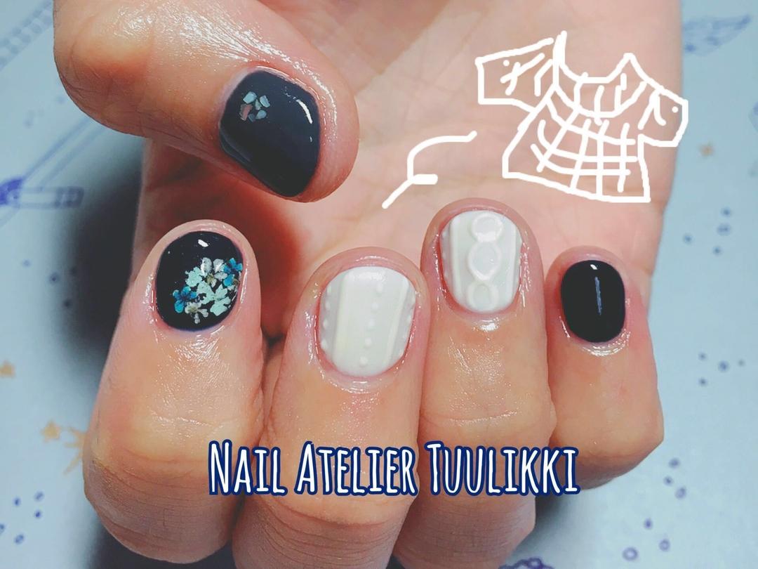 梅津夕想さんのネイルデザインの写真。テーマは『ネイルアトリエツーリッキ、nail2016w、ショートネイル、冬ネイル、短い爪ネイル、ニットネイル、ニット、代々木上原、下北沢、東北沢』