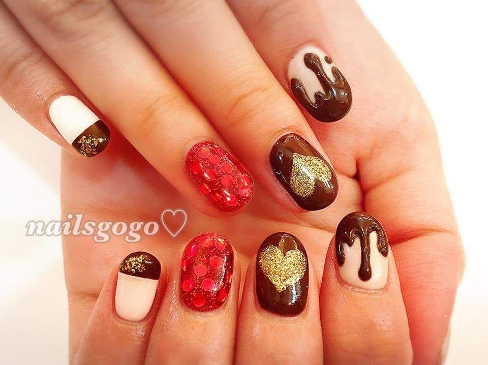 nailsgogoさんのネイルデザインの写真。テーマは『バレンタイン、バレンタインネイル、チョコネイル、チョコレートネイル、チョコ、チョコレート、トレンド』