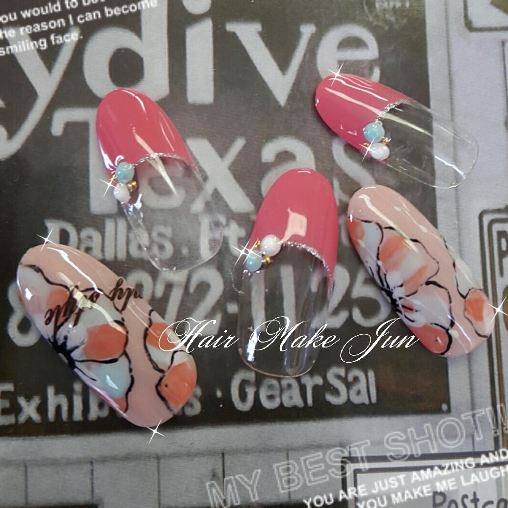 Mio Abeさんのネイルデザインの写真。テーマは『春ネイル、ネイル、フラワーネイル、手描きアート、HairMakeJun、春デザイン、デート、パーティー、フレンチネイル』