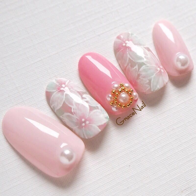 GraceNailさんのネイルデザインの写真。テーマは『桜、ピンクネイル、ピンク、春、春ネイル、フラワー、フラワーネイル、フラワーアート、桜ネイル』
