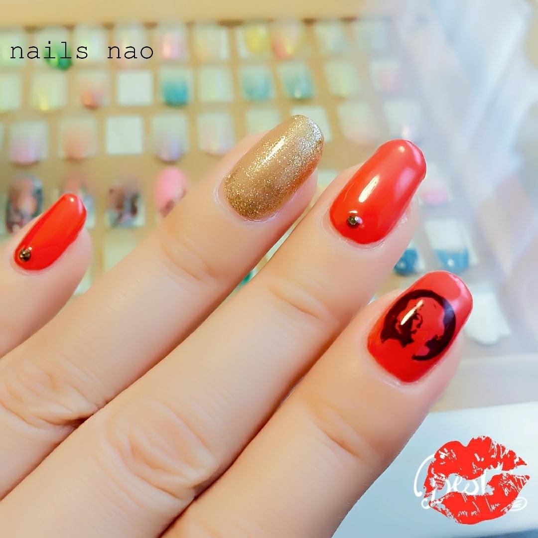 nails naoさんのネイルデザインの写真。テーマは『キャラクター、ジェルネイル、レッドネイル』