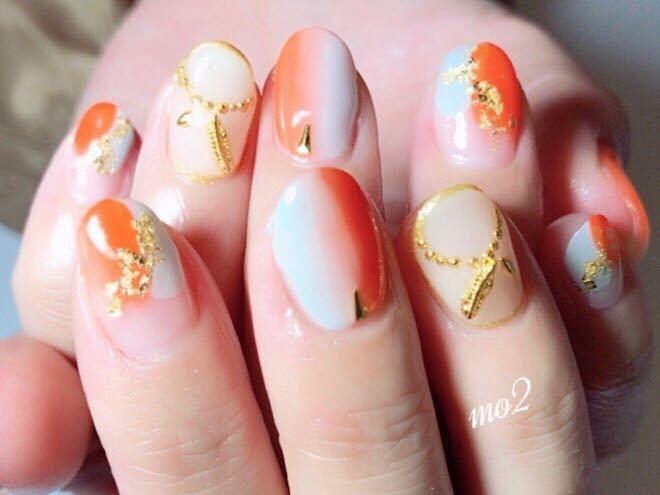 mo2さんのネイルデザインの写真。テーマは『mo2、novobyshowroom、北九州市、小倉北区、nailstagram、nail、nailsalon、beauty、nailart、kokoist、美爪、美甲、美甲師、指甲、指甲彩繪、指甲畫花、大人女子、海、2017、夏、mismarias、orange、縦グラデ、夏ネイル、summer』