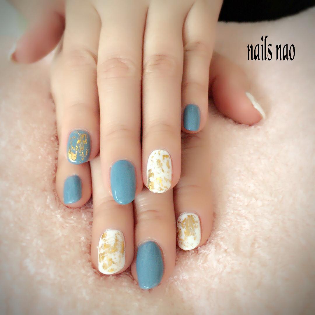 nails naoさんのネイルデザインの写真。テーマは『ワンカラー、シンプルネイル、ブルーネイル、ホワイトネイル』
