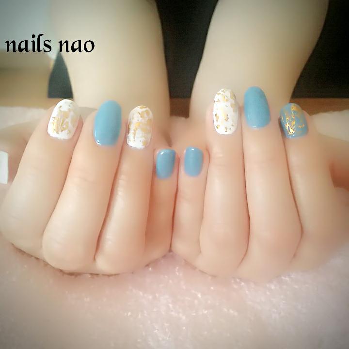 nails naoさんのネイルデザインの写真。テーマは『ブルーネイル、ホワイトネイル、ワンカラー、シンプルネイル、大人ネイル』