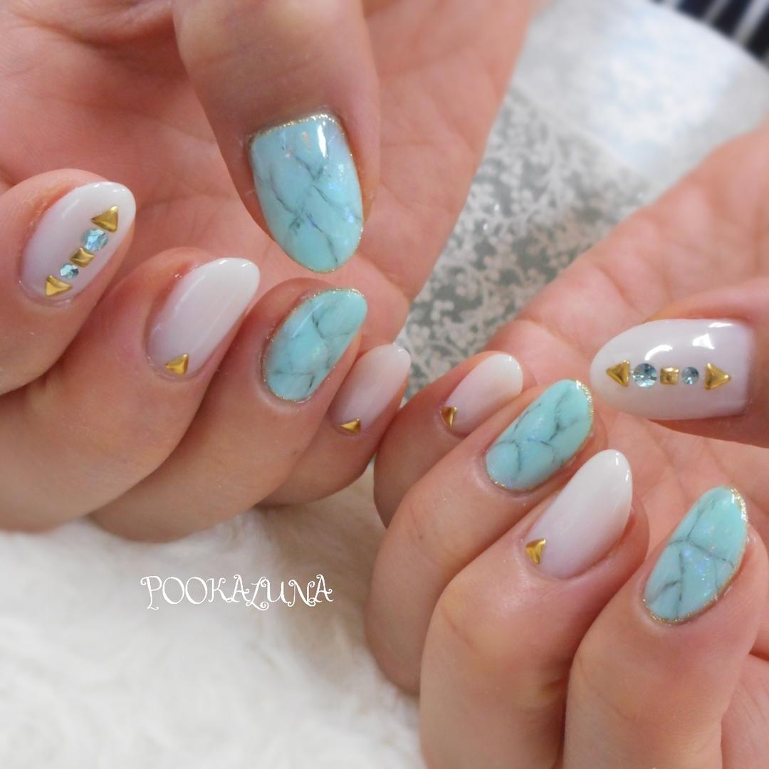 POOKALUNA  さんのネイルデザインの写真。テーマは『須賀川市、ネイル、nail、nails、acegel、美甲、プーカルーナ、POOKALUNA、須賀川ネイル、エースジェル、ジェルネイル、ネイルサロン、nailart、春ネイル、夏ネイル、gelnails、大人ネイル、上品ネイル、ワンカラーネイル、大理石ネイル、水色、white、blue、ターコイズネイル』