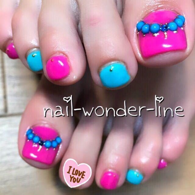 nail-wonder-lineさんのネイルデザインの写真。テーマは『女子会、ジェルネイル、デート、エスニック、パーティー、夏ネイル、ターコイズネイル、リゾート、旅行、お客様、夏、ブライダル、海、フットネイル、フット、沼津ネイルサロン、沼津、モロッコネイル』