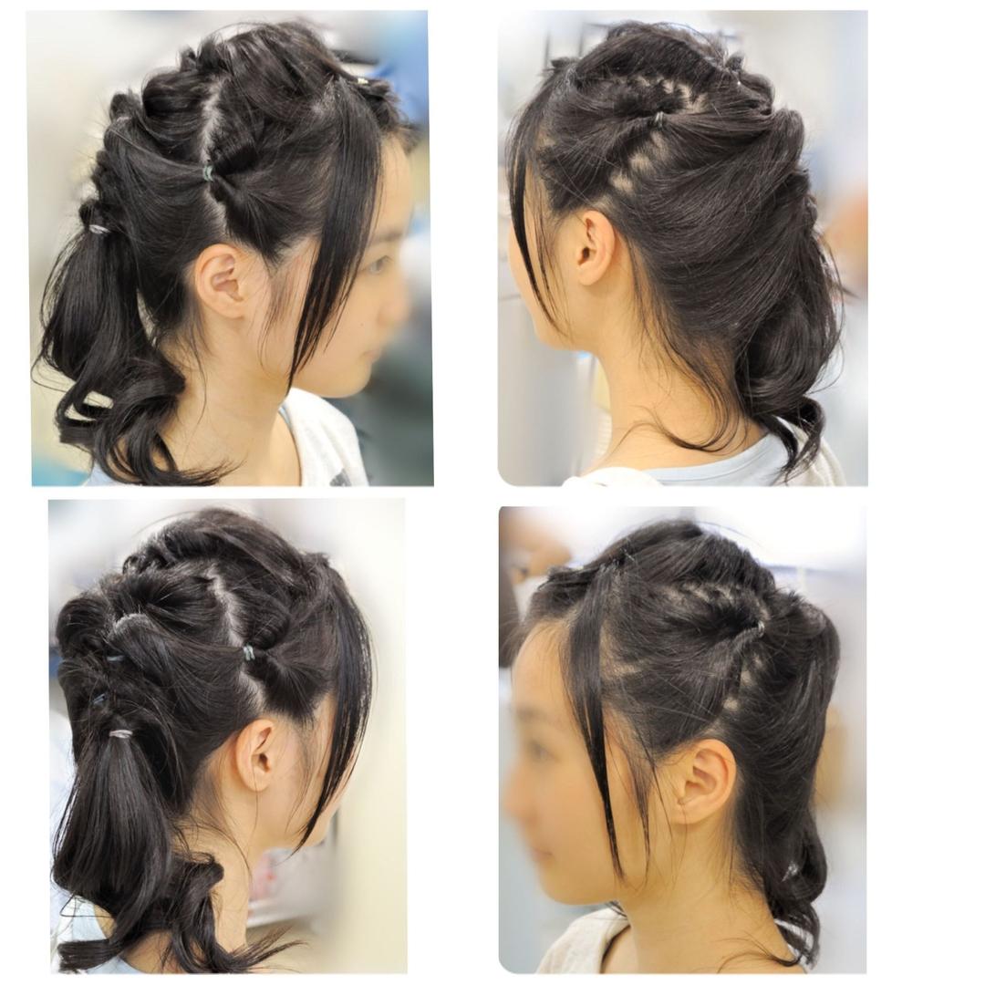 nafeesさんのヘアスタイルの写真。テーマは『HAIRMAKEnafees、大井町の美容院美容室ヘアメイクナフィーズ、サイドアップ、くるりんぱ、アップスタイル、へアスタイル』