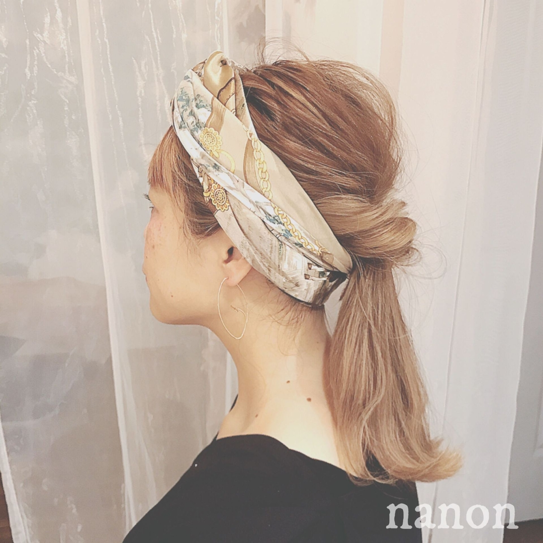 浦川 由起江さんのヘアスタイルの写真。テーマは『へアアレンジ、スカーフヘアアレンジ、くるりんぱ、arrange』