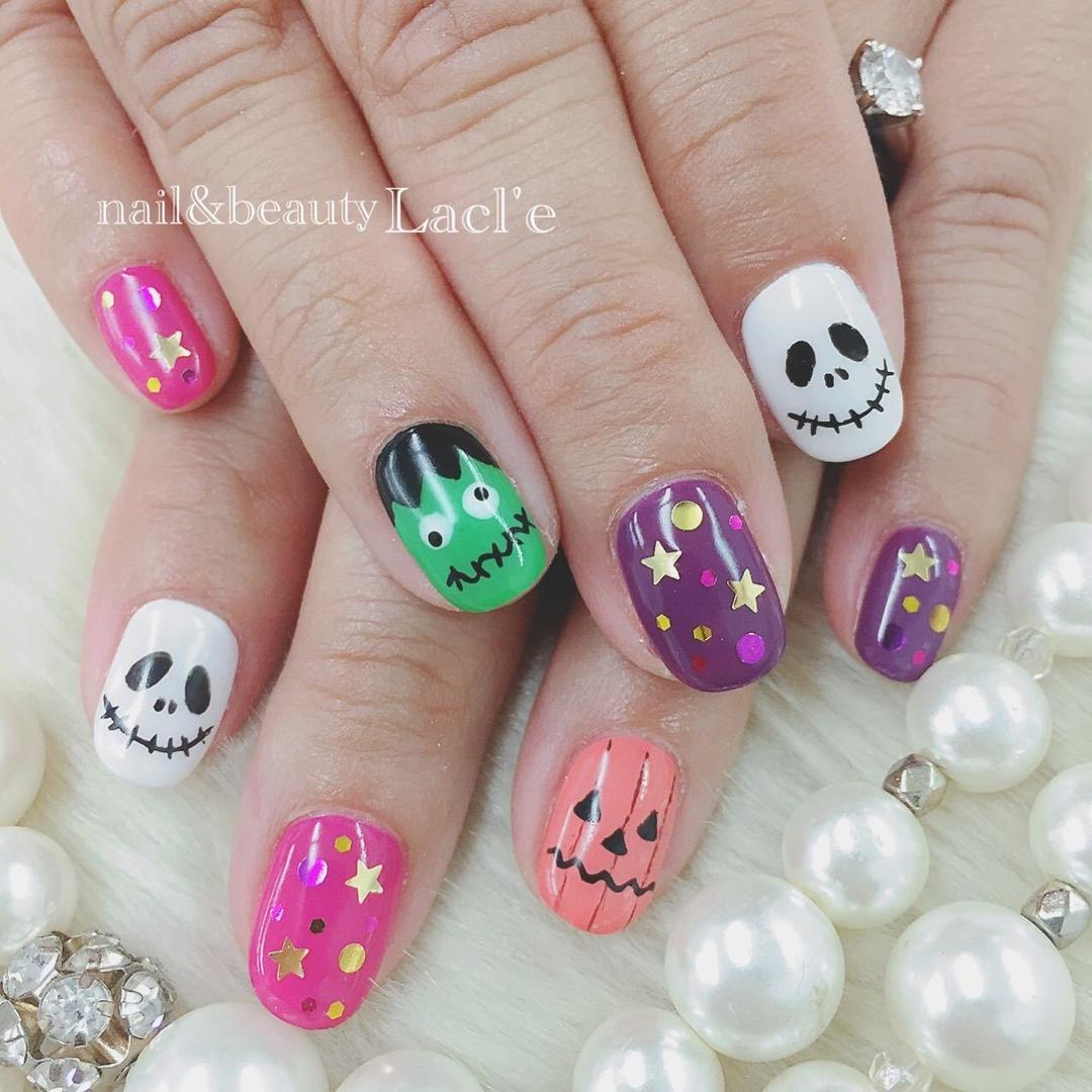 morinoco_nailさんのネイルデザインの写真。テーマは『ピンクネイル、ハロウィン、ハロウィンネイル』