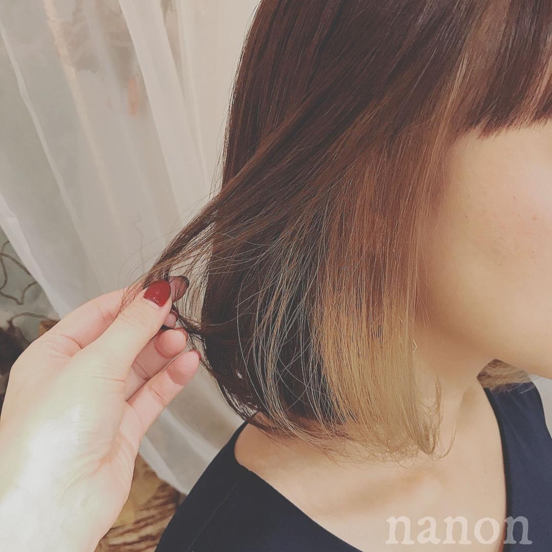 浦川 由起江さんのヘアスタイルの写真。テーマは『インナーカラー、ブリーチカラー、アッシュ、ボブ』