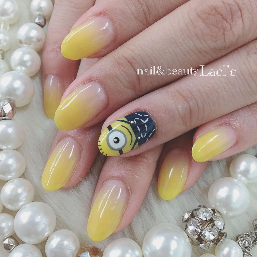 morinoco_nailさんのネイルデザインの写真。テーマは『キャラクター、ネイル、ミニオンズ、ミニオンネイル』