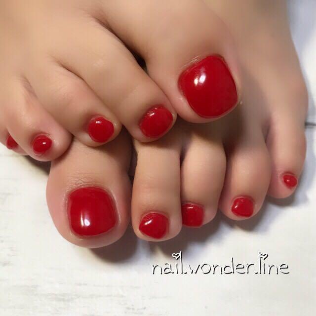 nail-wonder-lineさんのネイルデザインの写真。テーマは『ジェルネイル、お客様、シンプル、パーティー、nail、ワンカラー、女子会、オールシーズン、デート、レッド、赤ネイル、赤、運気アップ、沼津、沼津ネイルサロン』