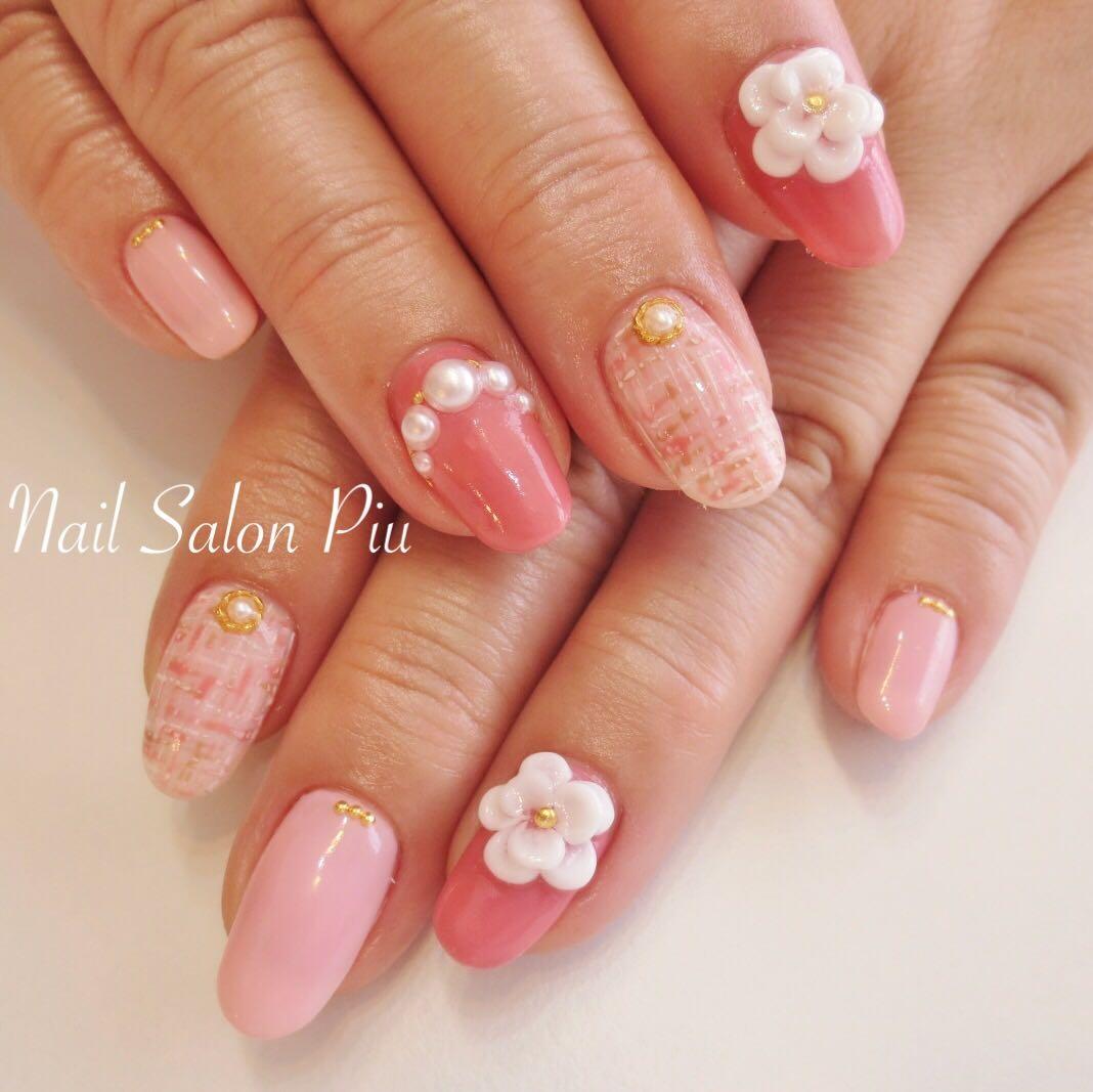 Nail Salon Piuさんのネイルデザインの写真。テーマは『ツイード、パール、3Dネイル、冬ネイル、ピンクネイル』