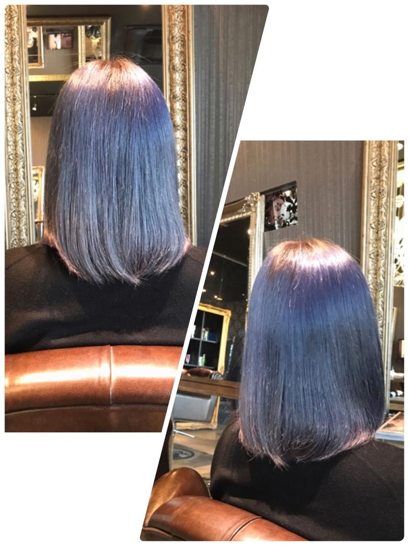 HANAさんのヘアスタイルの写真。テーマは『ネイビー、ブルー、ネイビーブルー、ネイビーアッシュ、ブリーチ、外国人風、透明感、名古屋、栄、矢場町、bitter』