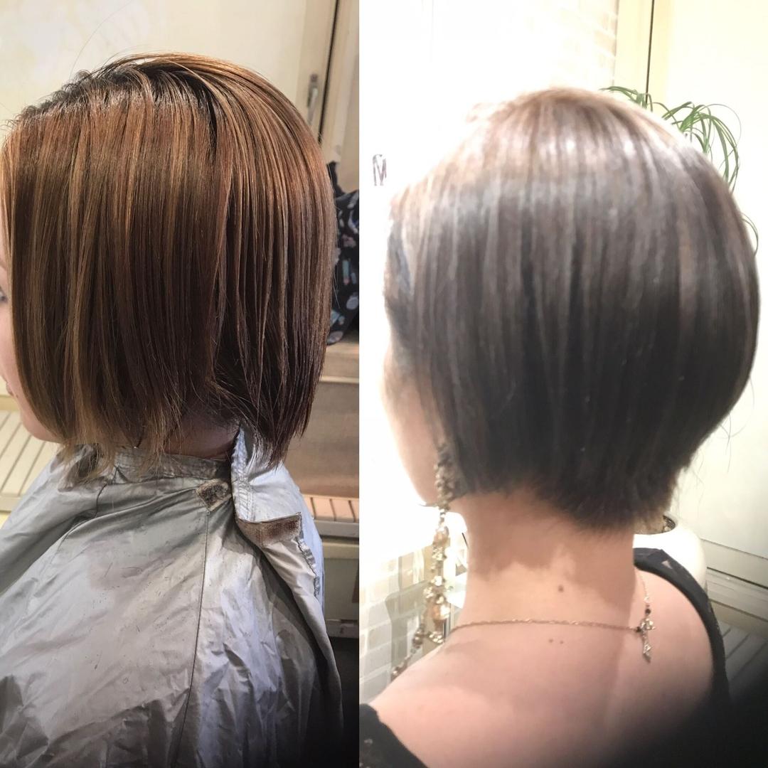 hair&make 8LAMIA8(ラミア)さんのヘアスタイルの写真。テーマは『広島、8LAMIA8、アッシュグレー、ヘアカラー、ショートボブ、JHSS広島校、24時まで営業、カット、カラー、パーマ、、縮毛矯正、エクステ、ヘアセット、増毛エクステ、メイクレッスン、ネイル、着付け、衣類、装飾品販売!』