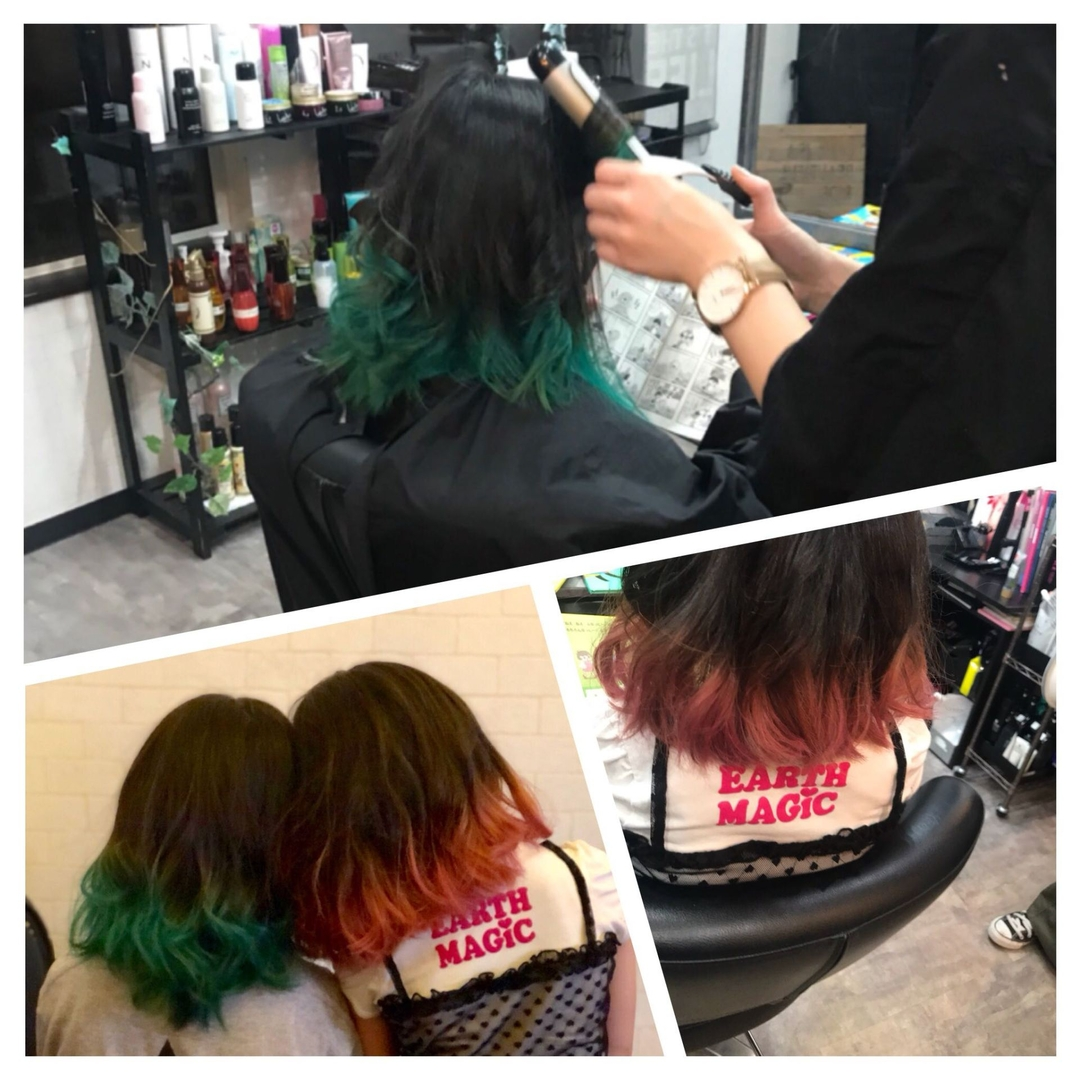 NON EDGE-苫小牧-さんのヘアスタイルの写真。テーマは『苫小牧美容室、苫小牧、デザインカラー、色違い、お揃い、姉妹ヘア、姉妹、姉妹お揃い、北海道、nonedge、美容室、ヘアサロン、ヘアスタイル、ヘアカラー、ヘアカラーチェンジ、ヘアカラーピンク、ヘアカラーグリーン、ツートーン、イベントヘア、派手髪、色落ちも楽しめるカラー』