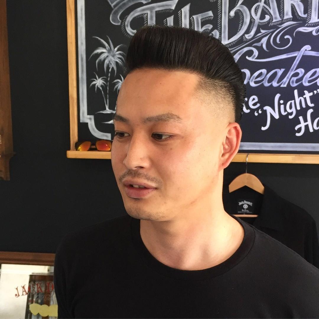 バーバースピークイージーさんのヘアスタイルの写真。テーマは『金沢バーバー、スピークイージー、金沢駅周辺、理容室、床屋、メンズカット、フェードカット、スキンフェード、バーバースタイル、夜遅くまで営業、オシャレ、barber、barbershop、金沢バーバースタイル、金沢市バーバーショップスピークイージー、金沢市スキンフェード、金沢市バーバーショップ』