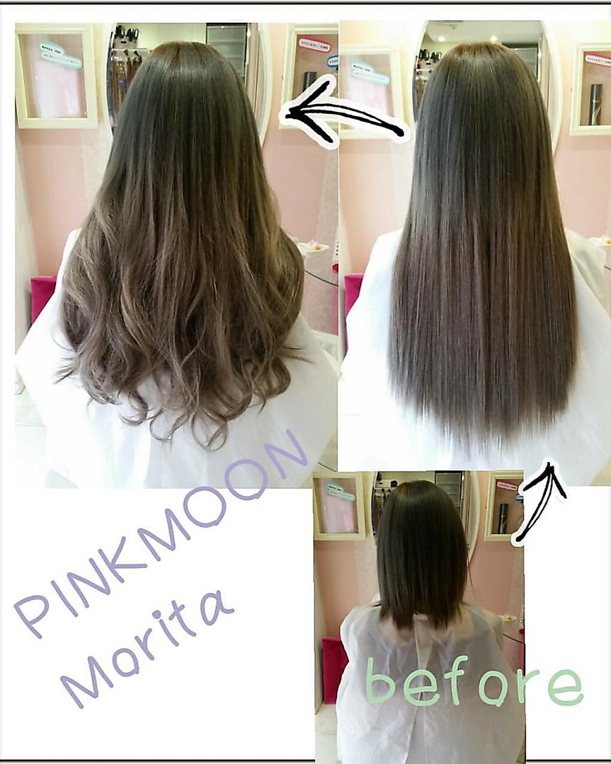 Dolceエクステニスト森田真菜美さんのヘアスタイルの写真。テーマは『エクステ、ヘアエクステ、心斎橋、大阪』