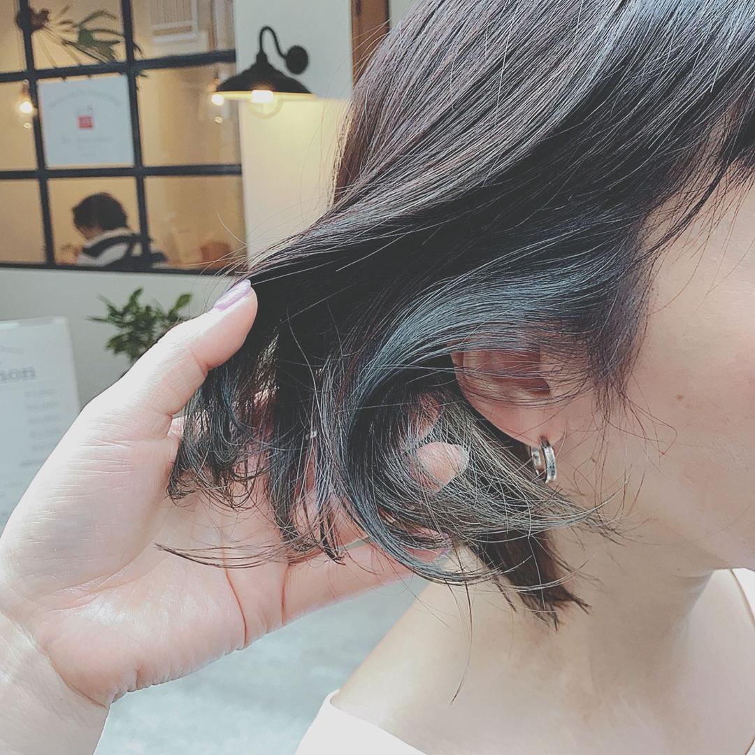 浦川 由起江さんのヘアスタイルの写真。テーマは『インナーカラー、外国人風カラー、ファイバープレックス、スロウカラー、マットグレージュ、プライベートサロン、ボブ』