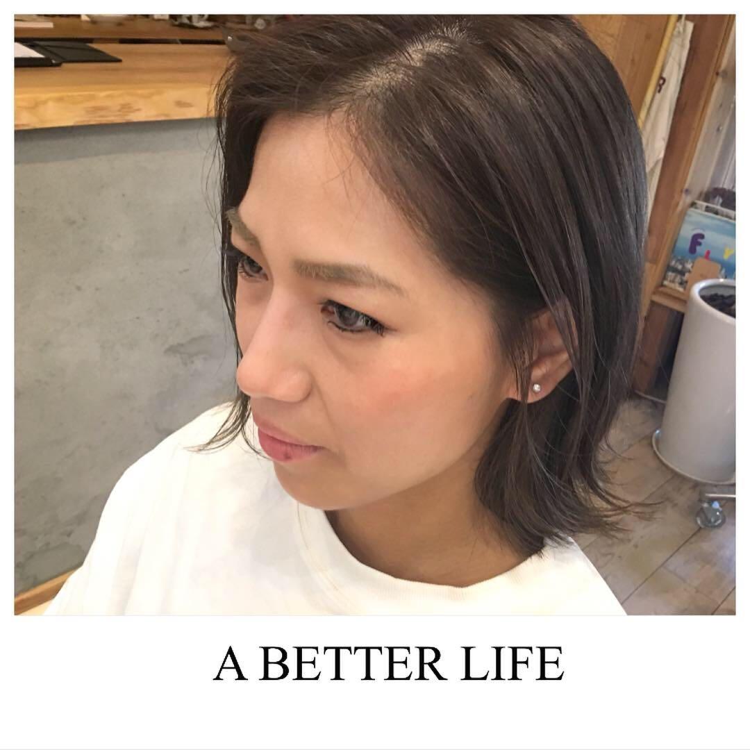 藤枝晃也さんのヘアスタイルの写真。テーマは『ボブ、ヘア、外ハネ』