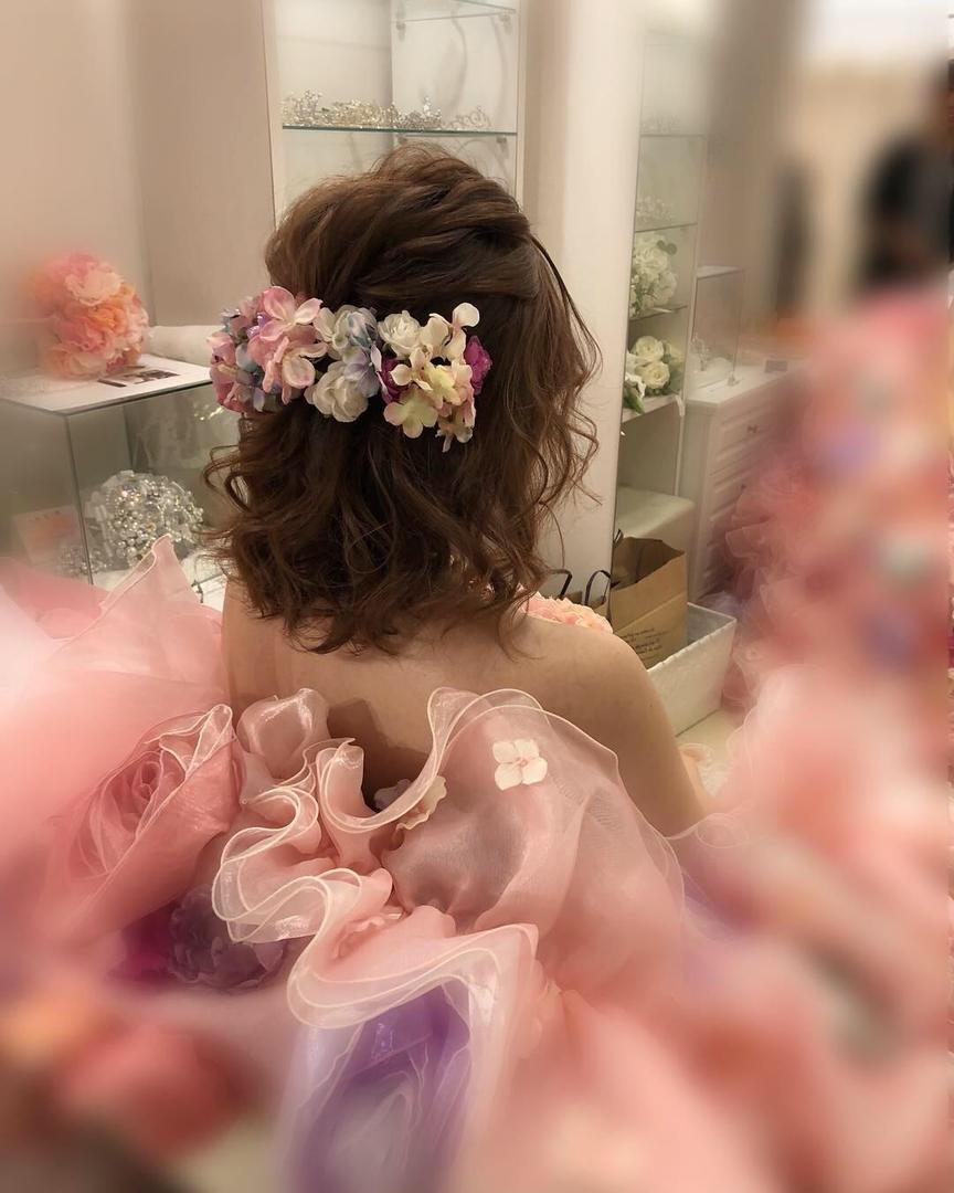 平原さんのヘアスタイルの写真。テーマは『宮崎市ヘアセット、宮崎市、ヘアセット専門店、セットサロン、ヘアセット、ヘアアレンジ、カラードレスヘア、ハーフアップ、ハーフアップアレンジ、宮崎ウェディング、ブライダルヘア、前撮りロケーション、結婚式ヘアアレンジ、結婚式ヘア、結婚式前撮り、前撮りヘア、結婚式髪型、宮崎、hair、hairset、hairstyle、hairarrange、宮崎県、宮崎市STELLA、宮崎市ステラ、宮崎市セット、前撮り、アレンジヘア、フォトウェディング宮崎、ボブアレンジ』