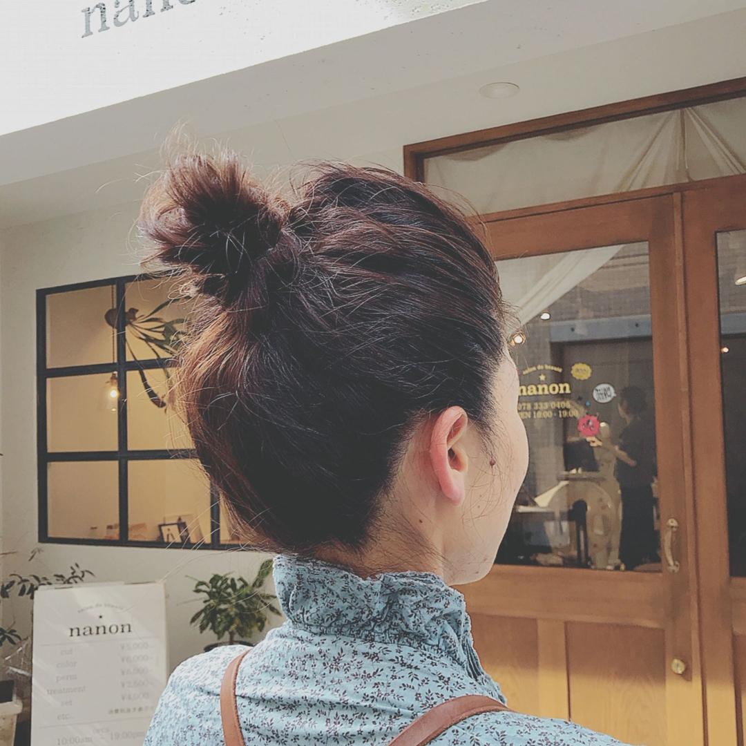浦川 由起江さんのヘアスタイルの写真。テーマは『おだんごヘア、ヘアアレンジ、簡単ヘアアレンジ、プライベートサロン、nanon』