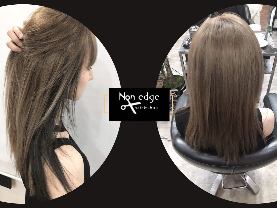 NON EDGE-苫小牧-さんのヘアスタイルの写真。テーマは『サラサラヘア、ツヤ髪、ダークカラー、ハイトーン、ロングヘア、ベージュカラー、外国人風カラー、ナチュラルヘア、ブリーチカラー、ダブルカラー、wカラー、デザインカラー、セミロング、ヘアカラー、アディクシーカラー、ヘアカタ、苫小牧、美容師、美容室、ヘアサロン、スタッフ募集』