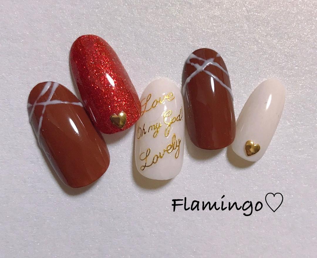 Flamingo♡さんのネイルデザインの写真。テーマは『ネイル、バレンタインネイル、チョコネイル、冬ネイル、チョコレートネイル、トレンドネイル、ハートネイル、セルフネイル、越谷、越谷ネイルサロン、ママネイリスト、ネイリスト』