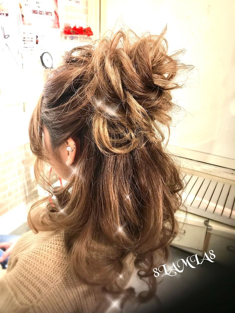 hair&make 8LAMIA8(ラミア)さんのヘアスタイルの写真。テーマは『広島、8LAMIA8、美容院、ヘアカラー、ヘアエクステ、ヘアセット、ヘアアレンジ、メイク、編み込みエクステ、シールエクステ、JHSS広島校、ヘアメイクスクール、24時迄営業の美容室、広島市中区、広島美容室、広島市』