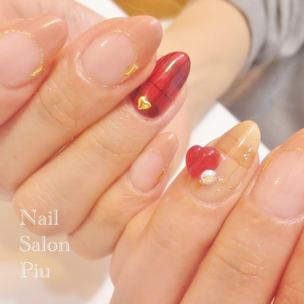 Nail Salon Piuさんの写真。テーマは『ハートネイル、フレンチネイル、チェックネイル、バレンタインネイル』