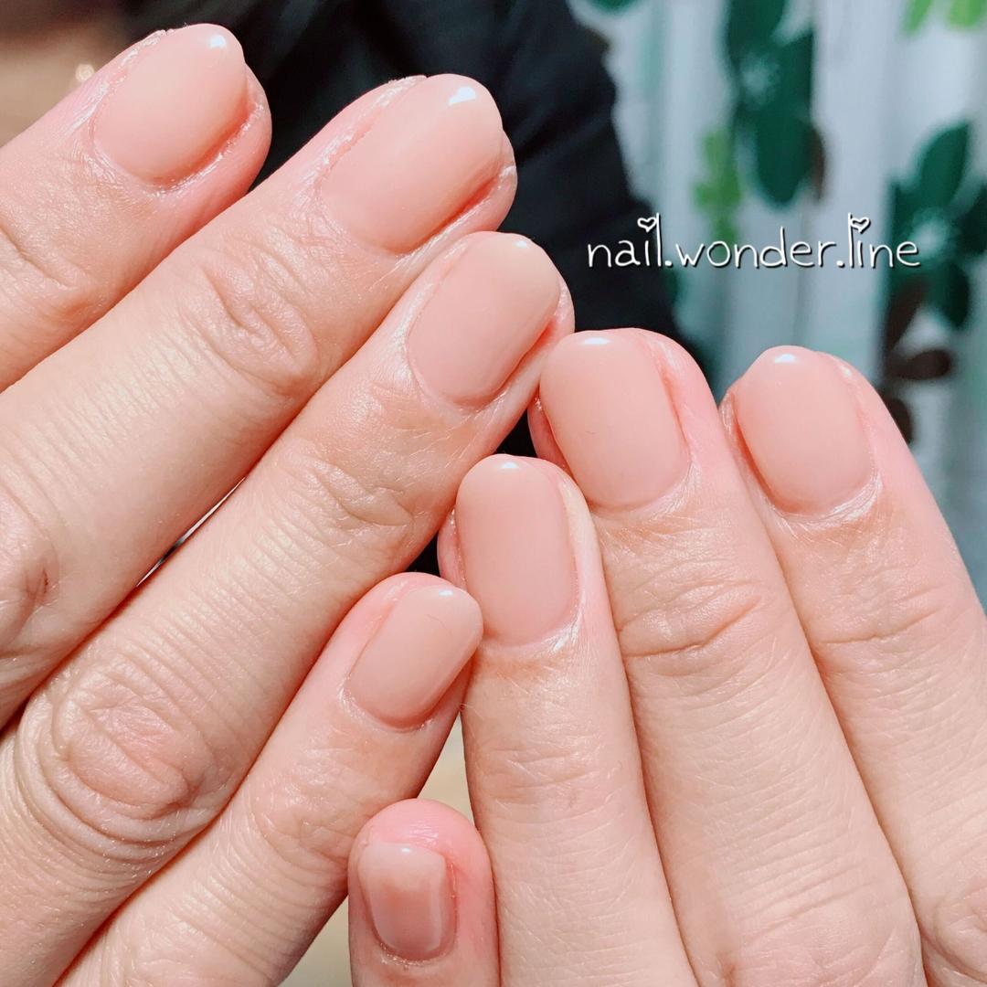 nail.wonder.lineさんのネイルデザインの写真。テーマは『オールシーズン、シンプル、ショート、ベージュ、ワンカラー、ヌーディーネイル、大人ネイル、nailbook、ネイルブック、myreco、静岡、沼津、沼津ネイルサロン、ネイルサロンワンダーライン』