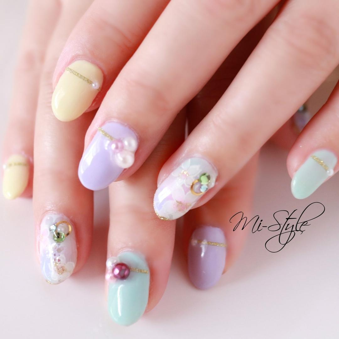 Mieko Hiramatsuさんのネイルデザインの写真。テーマは『ミースタイル、桜ネイル、さくらネイル、春ネイル、春ネイル2019、パステルカラー』