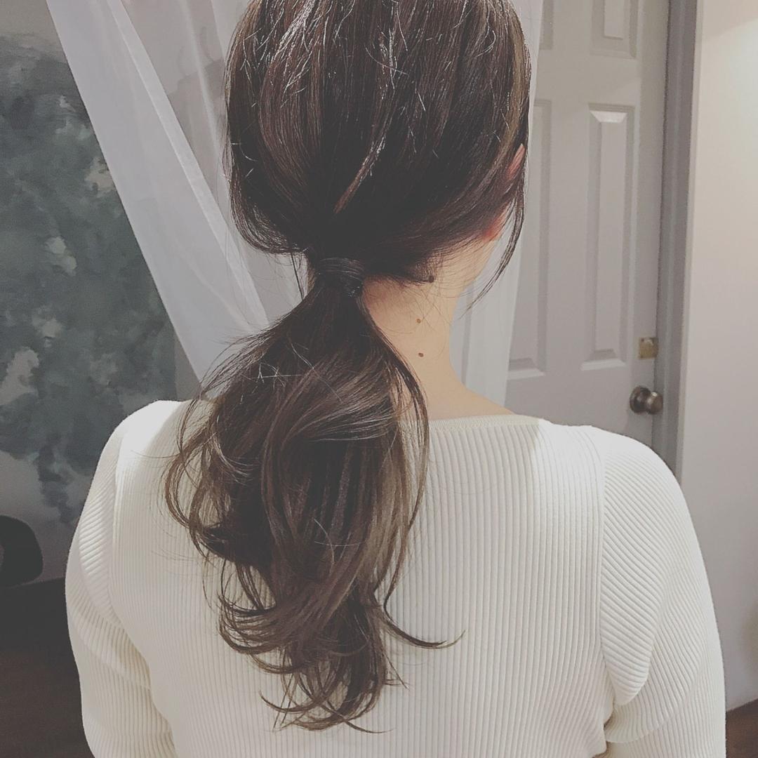 浦川 由起江さんのヘアスタイルの写真。テーマは『ローポニー、ヘアアレンジ、簡単ヘアアレンジ、ポニーテール、プライベートサロン、nanon』