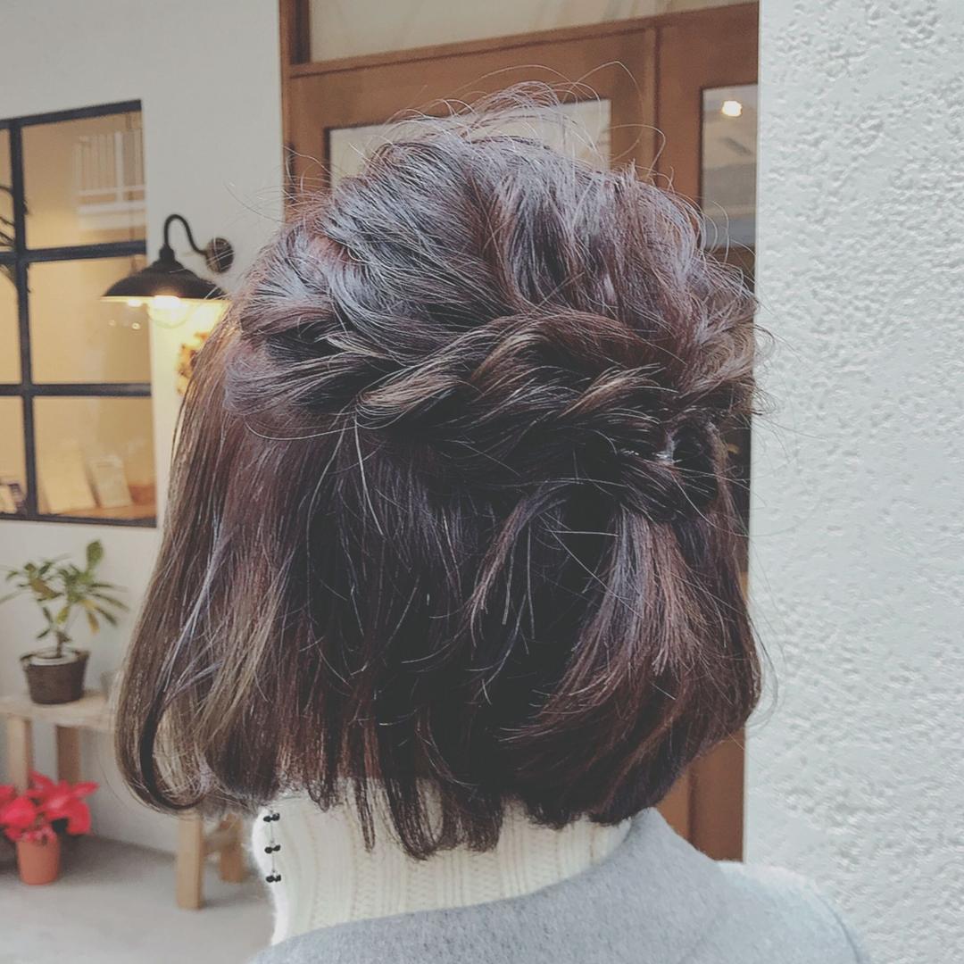 浦川 由起江さんのヘアスタイルの写真。テーマは『ボブアレンジ、ヘアアレンジ、簡単ヘアアレンジ、編み込み、プライベートサロン、nanon』