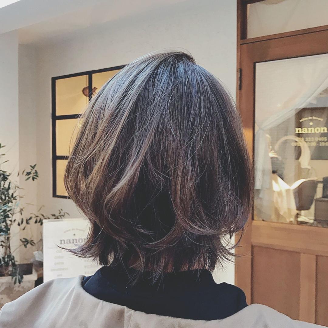 浦川 由起江さんのヘアスタイルの写真。テーマは『ひし形、ひし形ボブ、ボブ、外ハネ、グラデーションカラー、プライベートサロン、nanon』